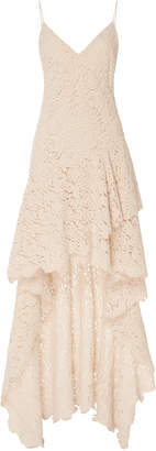 Philosophy di Lorenzo Serafini Velvet Lace Tiered Cotton-Blend High-Low Gown