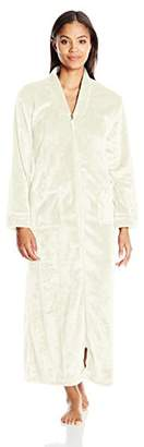 "Casual Moments Women's 52"" V-Neck Zip Front Robe"