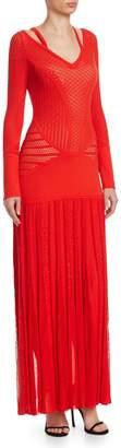 Roberto Cavalli Knit Cutout Long Dress