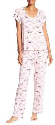 Catherine Malandrino Short Sleeve & Pants 2-Piece Pajama Set
