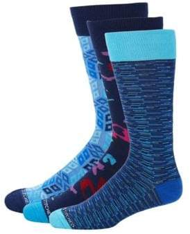 Three-Pack Geometric-Print Socks
