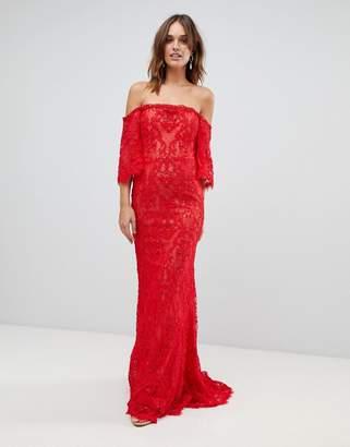 Forever Unique lace bardot maxi dress