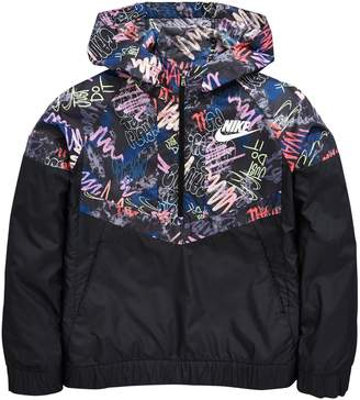 Nike Older Girl Scribble Print Windrunner Jacket