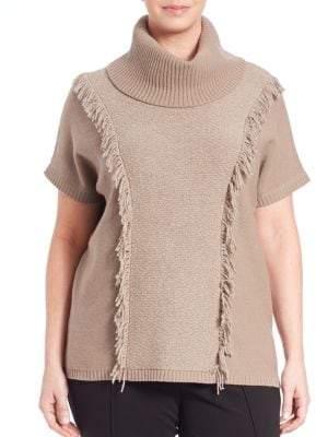 Lafayette 148 New York Loop-Stitch Fringed Wool Turtleneck