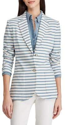 Lauren Ralph Lauren Striped Jersey Cotton Blazer