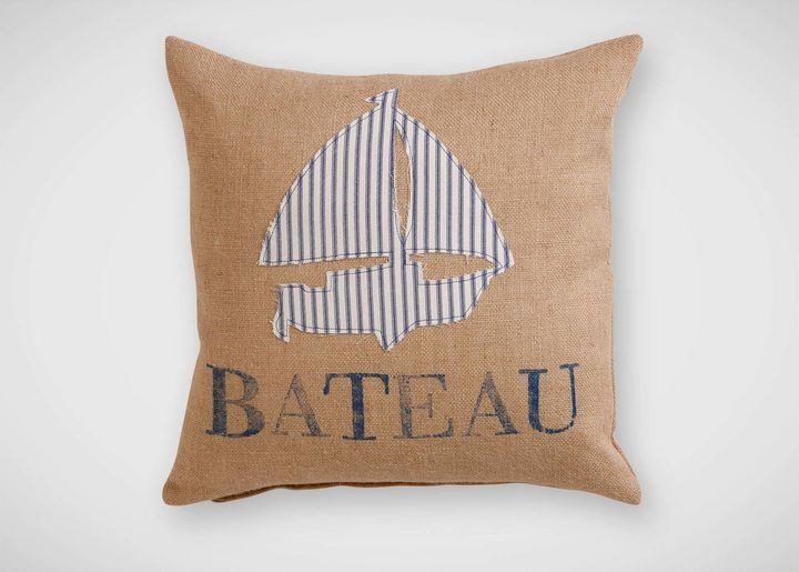 """Ethan Allen """"Bateau"""" Navy Ticking Stripe Pillow"""