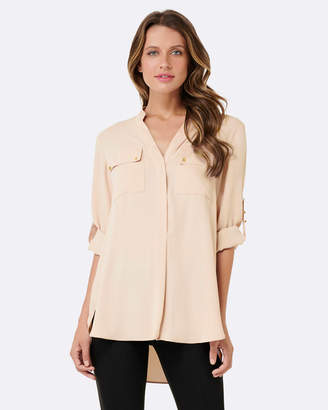 Forever New Debbie Button Roll Sleeve Tunic