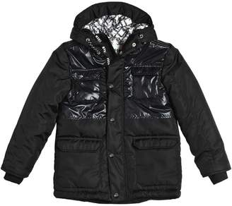 MSGM Hooded Shiny & Matte Nylon Puffer Coat