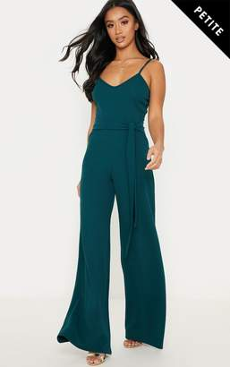 PrettyLittleThing Petite Chocolate Brown Tie Waist Wide Leg Jumpsuit