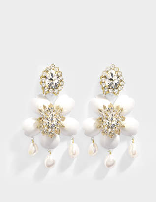 Shourouk Exclusive Dahlia Crystal Earrings in Crystal, Brass, Swarovski Crystals and Pearls
