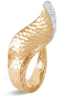 John Hardy 18K Yellow Gold Classic Chain Hammered Pavé Diamond Wave Ring