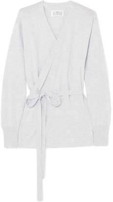 Maison Margiela Suede-trimmed Cotton Wrap Top - Gray