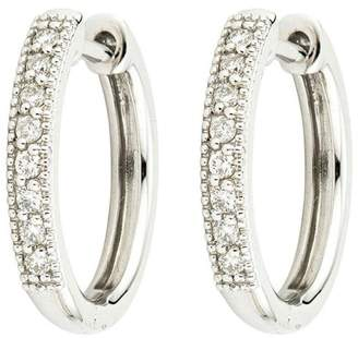 Jude Frances 18K White Gold Diamond Camelia Hoop 0.16ct. Diamond Earrings