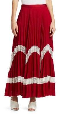 Elizabeth and James Women's Regina Pleated Maxi Skirt - Ruby White - Size 6