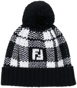 Fendi check knit beanie