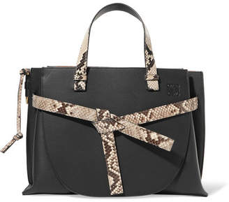 Loewe Gate Python-trimmed Textured-leather Tote - Black