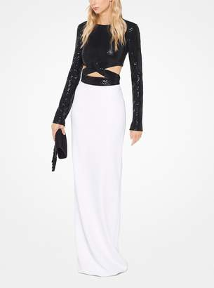 Michael Kors Cutout Sequined Stretch-Cady Gown