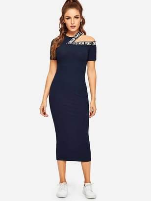 Shein Asymmetrical Neck Letter Ribbed Knit Dress