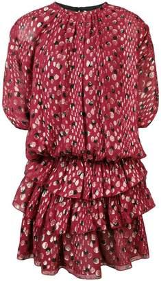 Saint Laurent layered skirt ruched detail dress