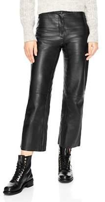 Sandro Poésie Leather Crop Pants