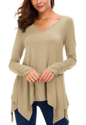Urban CoCo Women's Long Sleeve Handkerchief Tunic Top with Thumb Hole (XL, )