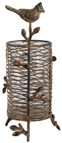 Rustic Metal Bird Candleholder