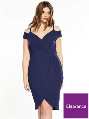 AX Paris CURVE Curve Cold Shoulder Wrap Front Dress