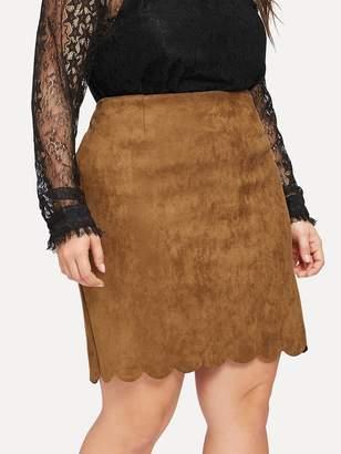 af3bf85e7f5 Shein Plus Scallop Hem Zip Back Suede Skirt