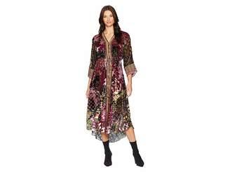 Hale Bob Free Flowing Silk/Rayon Velvet Burnout Silvana Dress