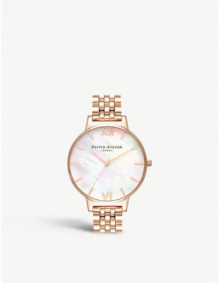 Olivia Burton OB16MOP03 Semi Precious rose gold-plated and mother-of-pearl watch