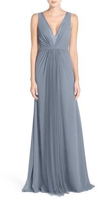 Women's Monique Lhuillier Bridesmaids Deep V-Neck Chiffon & Tulle Gown $290 thestylecure.com