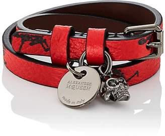 Alexander McQueen Men's Dancing-Skeleton Double-Wrap Bracelet - Red