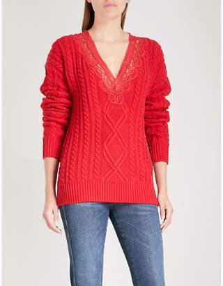 The Kooples Lace-trim cotton-blend jumper