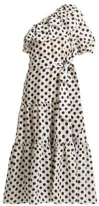 Lisa Marie Fernandez Arden One Shoulder Polka Dot Linen Dress - Womens - White Black