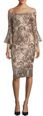 Betsy & Adam Off-the-Shoulder Sequined Dress $259 thestylecure.com