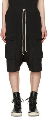 Rick Owens Black Pod Cargo Shorts $755 thestylecure.com