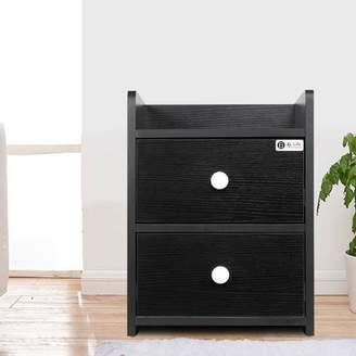 Estink MDF Wood Bedside Table with 2 Drawers for Storage Modern Home Bedroom Furniture Black