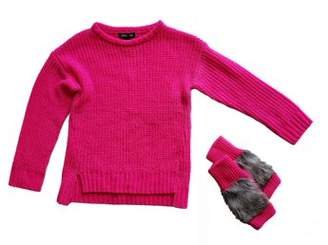 Limited Too Long Sleeve Chenille Sweater & Faux Fur Fingerless Mittens, 2pc Set (Toddler Girls)