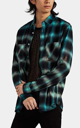 Amiri Men's Gradient Plaid Cotton-Blend Flannel Shirt - Lt. Blue