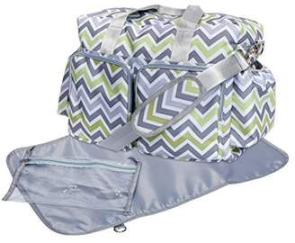 Trend Lab Chevron Deluxe Duffle Diaper Bag, Green/Gray/White by