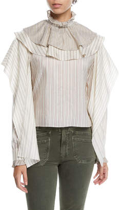 J.W.Anderson Ruffle High-Neck Draped-Sleeve Striped Silk Top