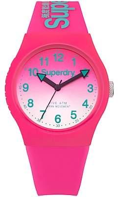 Superdry SYL198PN Women's Urban Laser Silicone Strap Watch, Hot Pink