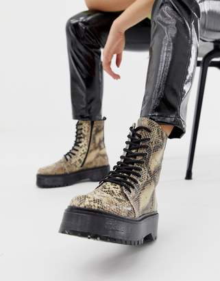 Bronx snake print leather chunky lace up boots