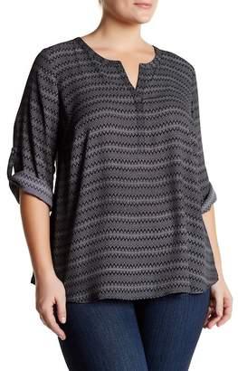 DR2 by Daniel Rainn Split Neck Roll Sleeve Blouse (Plus Size) $72 thestylecure.com