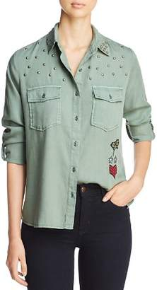 Billy T Embroidered & Studded Military Shirt