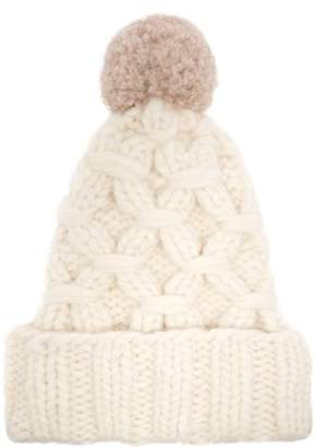 Lola Hats - Braces Cable Knit Pompom Beanie Hat - Womens - White