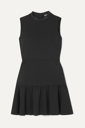 RED Valentino Abito Pleated Satin-trimmed Crepe De Chine Mini Dress - Black