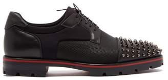 Christian Louboutin Luis Spike Embellished Neoprene Derby Shoes - Mens - Black