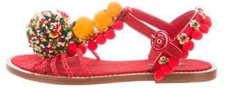 Dolce & Gabbana Pom-Pom Embellished Sandals w/ Tags