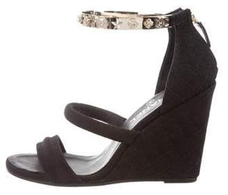 Chanel Lucky Charms Wedge Sandals Black Lucky Charms Wedge Sandals